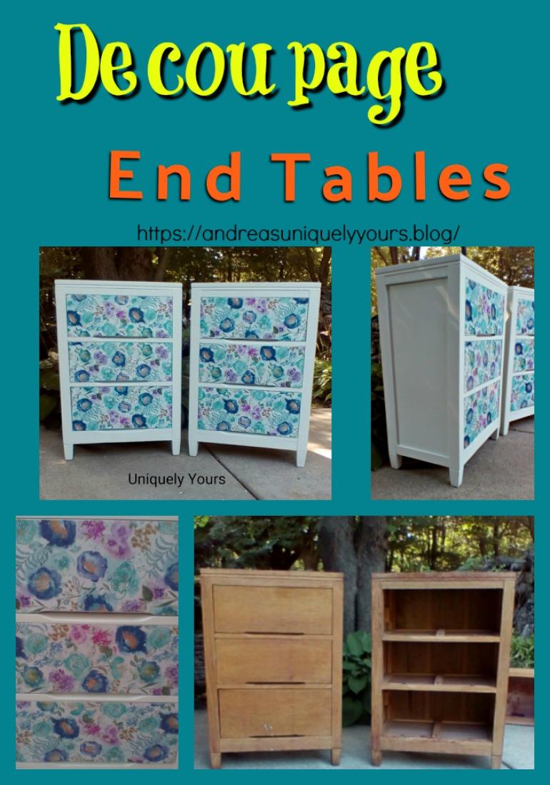 How to update old wood nightstands with decoupage and matte